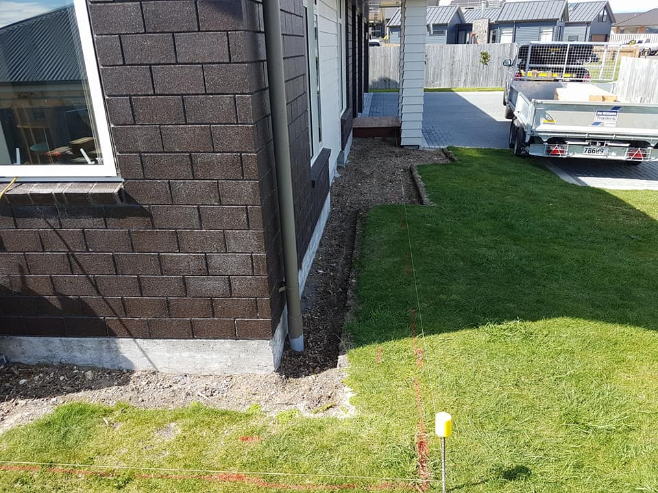 Lines in place for new garden and edging.